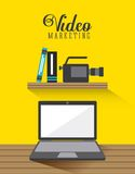 Video marketing ontwerp stock illustratie