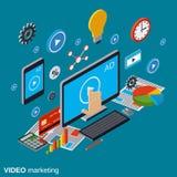 Video marketing, reclame, bevorderings vectorconcept stock illustratie
