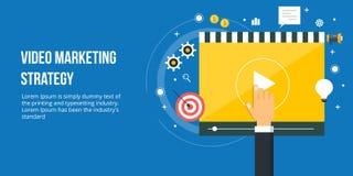 Video marketing voor online bedrijfsbevordering Vlakke ontwerp digitale marketing banner stock illustratie