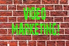 Video marknadsföring för ordhandstiltext Affärsidé för massmedia som annonserar konst för vägg för tegelsten för multimediabeford royaltyfri bild