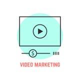 Video marknadsföring med den tunna linjen spelare royaltyfri illustrationer
