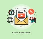 Video marknadsföring, tunn linje baner för lägenhetdesign vektor illustrationer
