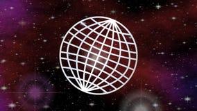 Video med linjen jord inom utrymme med flygstjärnor och den röda nebulosan Dator frambragd universumfantasi, zooma av royaltyfri illustrationer