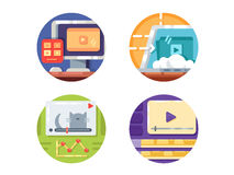 Video media icons. Create and downloading video to internet. Vector illustration. Pixel perfect icons size - 128 px Stock Photos