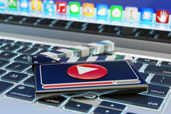 Video media player and online movie concept Royalty Free Stock Photo