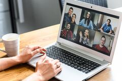Free Video Meeting On Laptop Screen, Zoom App Royalty Free Stock Photo - 181323455
