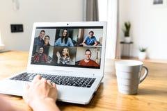 Free Video Meeting On Laptop Screen, Zoom App Stock Image - 181636571