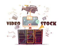 Video Microstock Industry Concept Retro Illustration Stock Photography