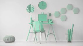 Video of a mint green office interior with hexagon wall decoration next to a desk with computer. Cinemagraph of oversize dice bein stock video