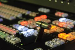 Video mixer with colored buttons. Royalty Free Stock Image