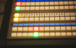Video mixing control table at tv studio Stock Image