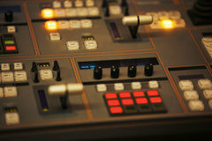 Video mixing control table at tv studio Royalty Free Stock Photos