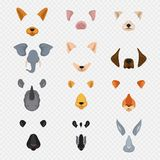 Video mobile chat animal faces. Cartoon animals masks isolated on transparent background stock illustration