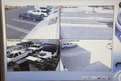 Video Monitor With Pictures From Security Cameras Royalty Free Stock Images
