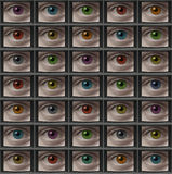 Video monitor screens of eyes with different color pupils. Video screens with close-ups of eyes with different color pupils Royalty Free Stock Photo