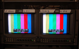 Video Monitors. Two color monitors in a television production facility Royalty Free Stock Images