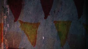 Video motion graffiti triangle ornament night. Light  moves along the wall abstract background pattern hd 1920x1080 stock footage