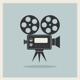 Video Movie Camera on Retro Background. Vector Stock Images