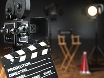 Video, movie, cinema concept. Retro camera, flash, clapperboard Royalty Free Stock Images