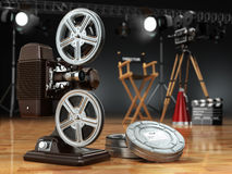 Video, movie, cinema concept. Vintage projector, retro camera, r. Eels, clapperboard and director chair. 3d Royalty Free Stock Photography