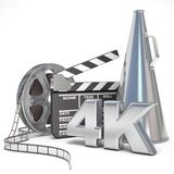 Video, movie, cinema production concept. Reels, clapperboard, megaphone and 4K. 3D Stock Photo