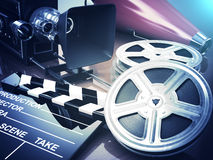 Video, movie, cinema vintage concept. Retro camera, reels and cl. Apperboard. 3d Stock Images