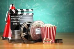 Video, movie, cinema vintage production concept. Film reels, cla Stock Images