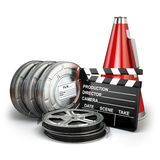 Video, movie, cinema vintage production concept. Reels, clapperboard and megaphone. 3d Royalty Free Stock Photos