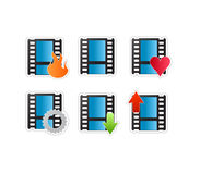 Video movie icon set. Vectored illustration of icons for movie and video editing and related web sites as film strip with shadow and icon upon it, use for hot Stock Images
