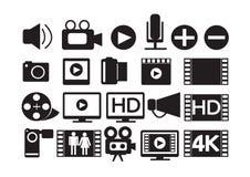 Video Movie Multimedia Icons Stock Photo