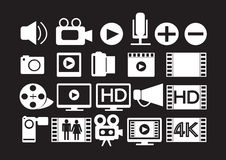 Video Movie Multimedia Icons royalty free illustration