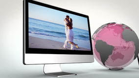 Video of multimedia with a pink Earth image courtesy of Nasa.org Stock Images