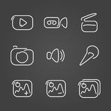 Video and multimedia set icons draw effect Stock Images