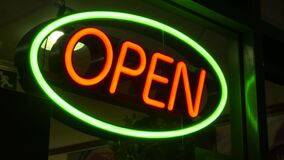Neon Open shop sign. Video of Neon Open shop sign stock video footage