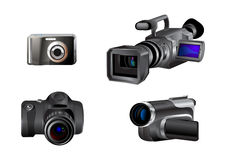 Video- och fotokamerasymboler royaltyfri illustrationer