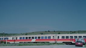 An old train. A video of an old red and white train stock footage