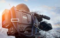 Video operatör med camcorders Royaltyfri Foto