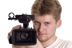 Video operator. With camcorder isolated on white Stock Photo