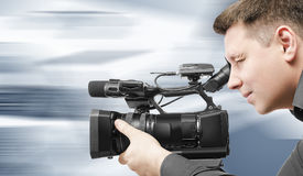 Video operator records the video. Royalty Free Stock Images