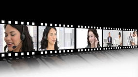 Video panels showing a business call centre
