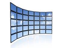 Video parete degli schermi piani della TV Fotografia Stock Libera da Diritti