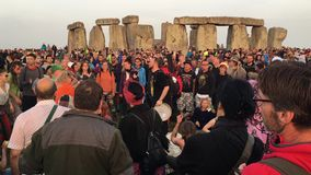 Summer Solstice party in Stonehenge. A video of people celebrating the summer solstice in Stonehenge stock video footage