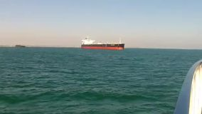 Petrochemical ship or tanker anchored in Long Beach. Video of petrochemical ship or tanker anchored in Long Beach stock video footage