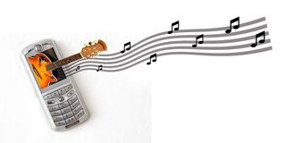Video Phone. Video cellular phone with Guitar coming out of screen Royalty Free Stock Images