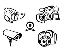 Video and photo cameras collection Royalty Free Stock Photo