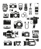 Video and photo cameras and different professional accessories. Vector monochrome illustrations Royalty Free Stock Photography