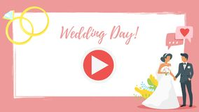 Video and photo frame background. Vector cartoon style video and photo frame background for editing. Bride and groom, speech bubbles with hearts and golden vector illustration