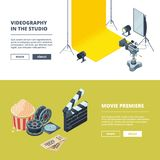 Video and photo production. Vector template of horizontal banners. Studio film movie, video clapboard and equipment illustration Royalty Free Stock Photos
