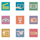 Video and photo vintage color flat icons. Solid fill icons in EPS 8 format stock illustration