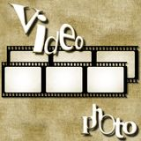 Video and photo words on film strip background. Business concept. Video and photo words on film strip background Stock Image